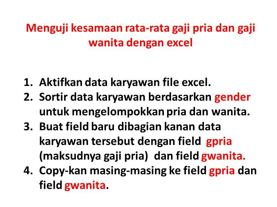 Menguji kesamaan rata-rata gaji pria dan gaji wanita dengan excel
