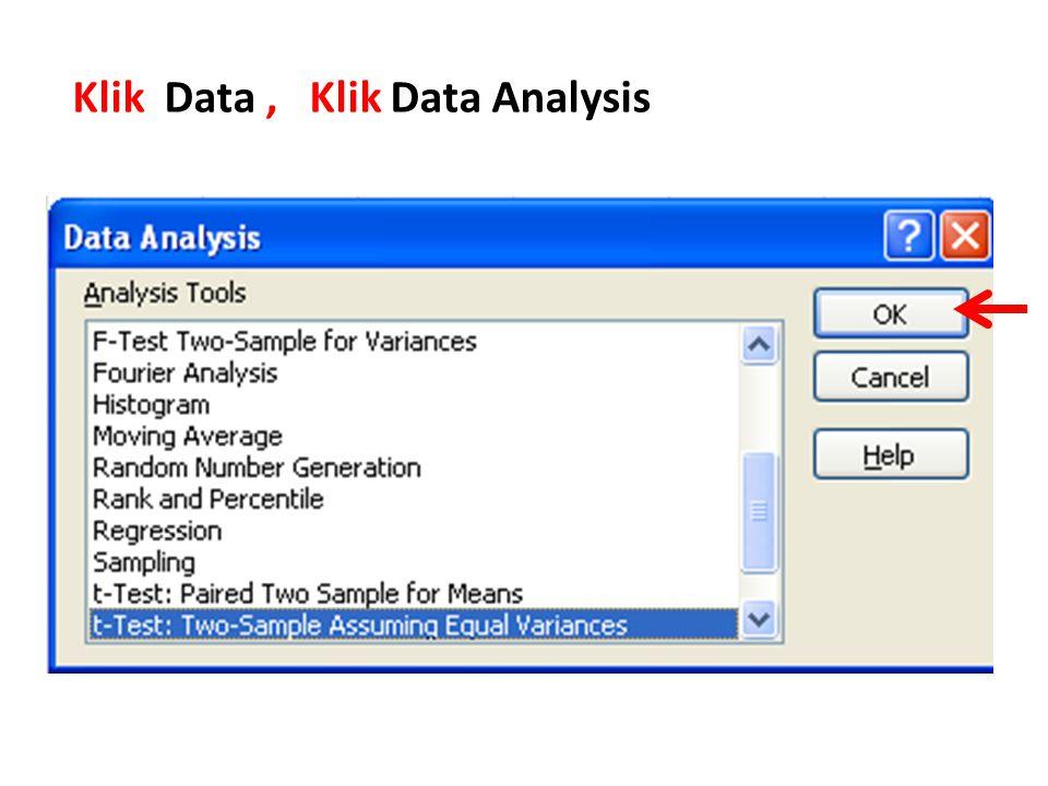 Klik Data , Klik Data Analysis