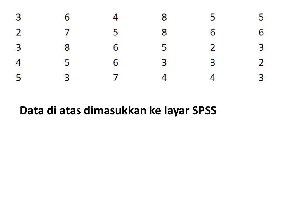 Data di atas dimasukkan ke layar SPSS