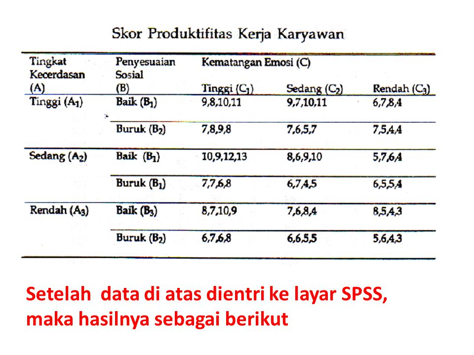 Setelah data di atas dientri ke layar SPSS, maka hasilnya sebagai berikut