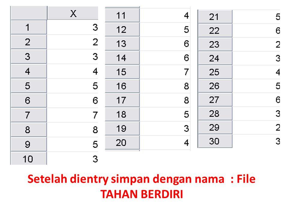 Setelah dientry simpan dengan nama : File TAHAN BERDIRI