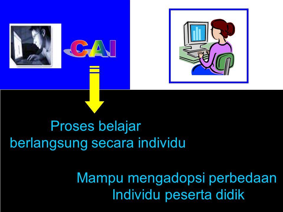 CAI Proses belajar berlangsung secara individu