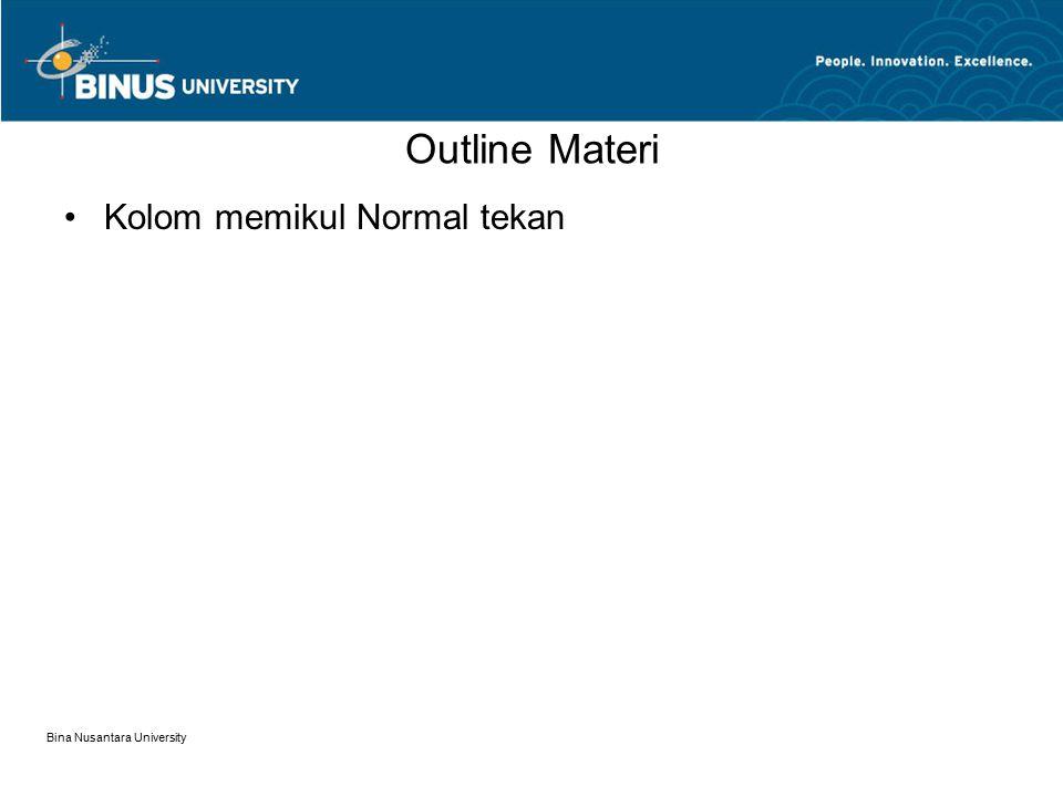 Outline Materi Kolom memikul Normal tekan Bina Nusantara University