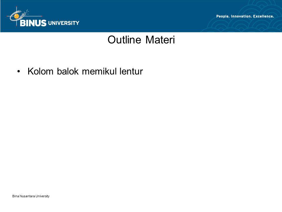 Outline Materi Kolom balok memikul lentur Bina Nusantara University