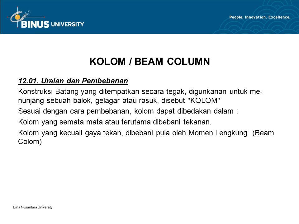 KOLOM / BEAM COLUMN 12.01. Uraian dan Pembebanan