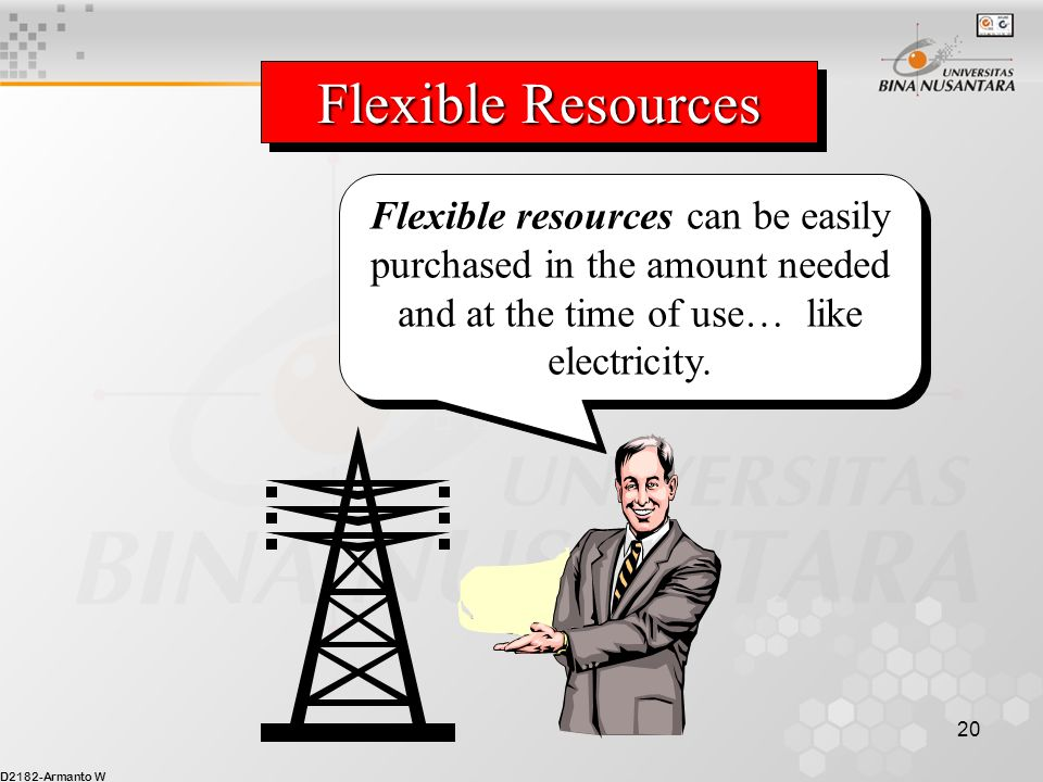 Flexible Resources Flexible resources can be easily purchased in the amount needed and at the time of use… like electricity.