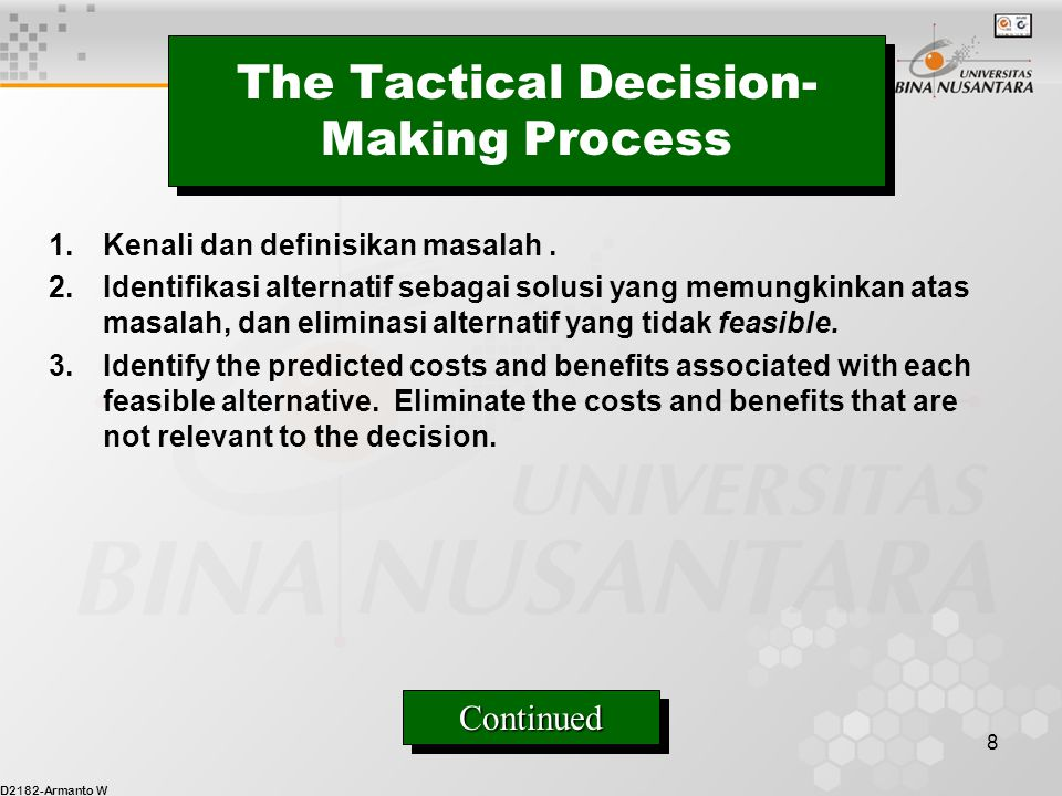 The Tactical Decision-Making Process