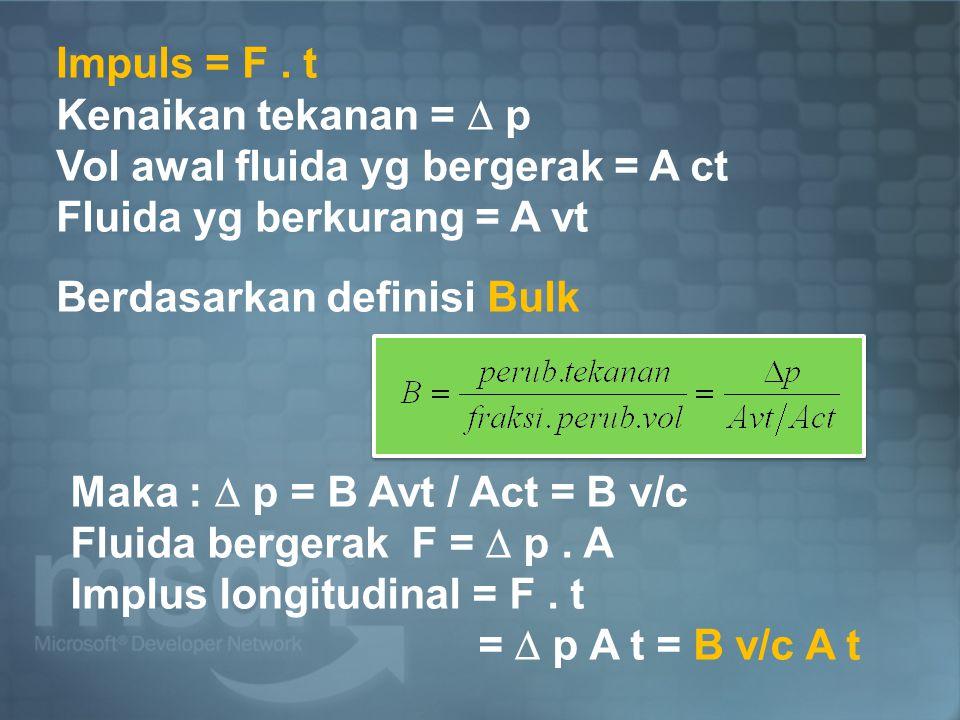 Impuls = F . t Kenaikan tekanan =  p. Vol awal fluida yg bergerak = A ct. Fluida yg berkurang = A vt.