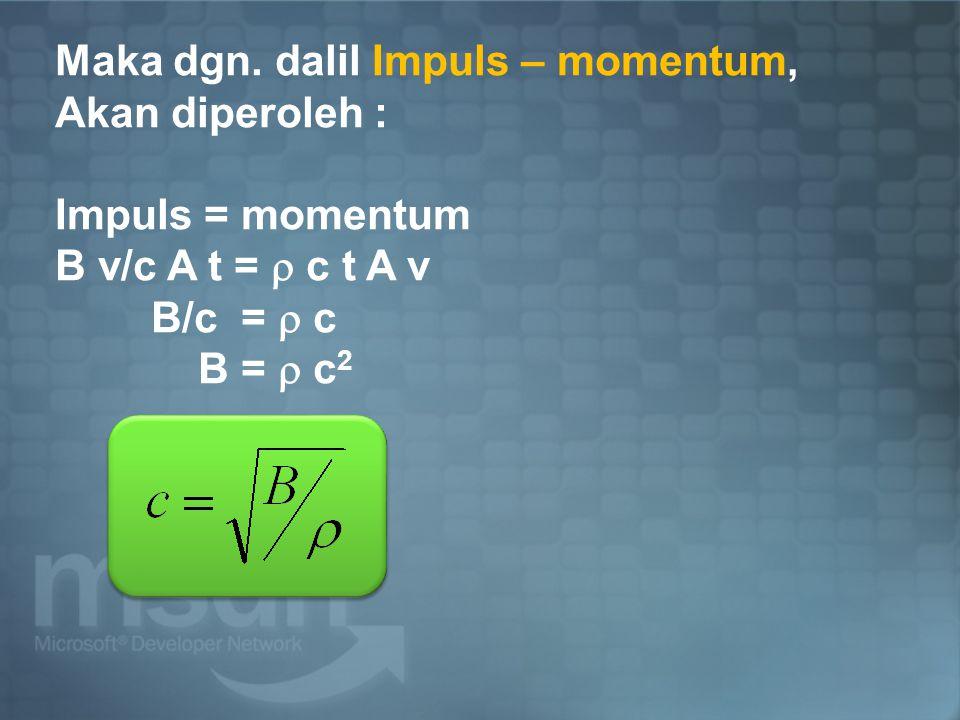Maka dgn. dalil Impuls – momentum,