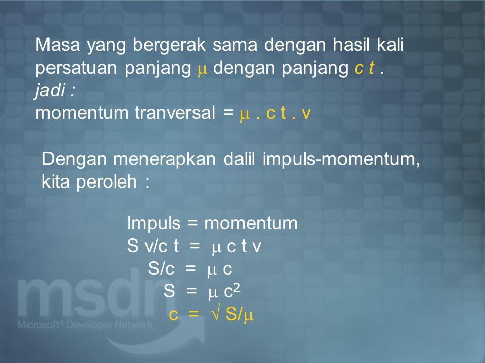 Masa yang bergerak sama dengan hasil kali persatuan panjang  dengan panjang c t .