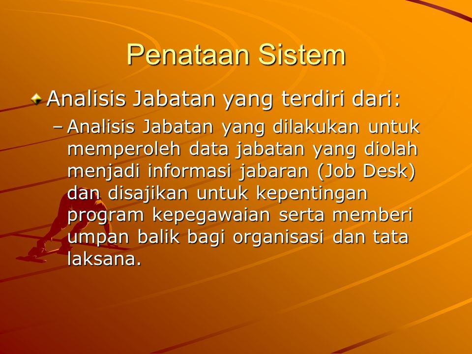Penataan Sistem Analisis Jabatan yang terdiri dari: