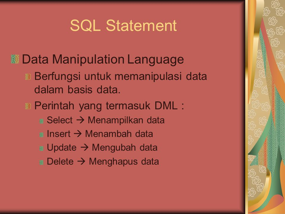 SQL Statement Data Manipulation Language