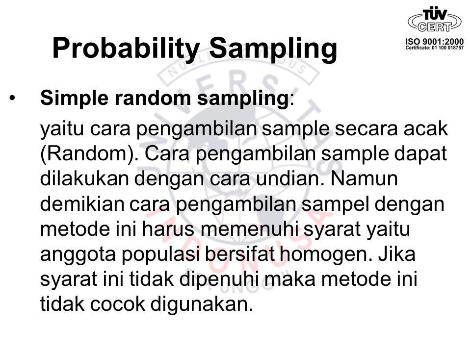 Probability Sampling Simple random sampling: