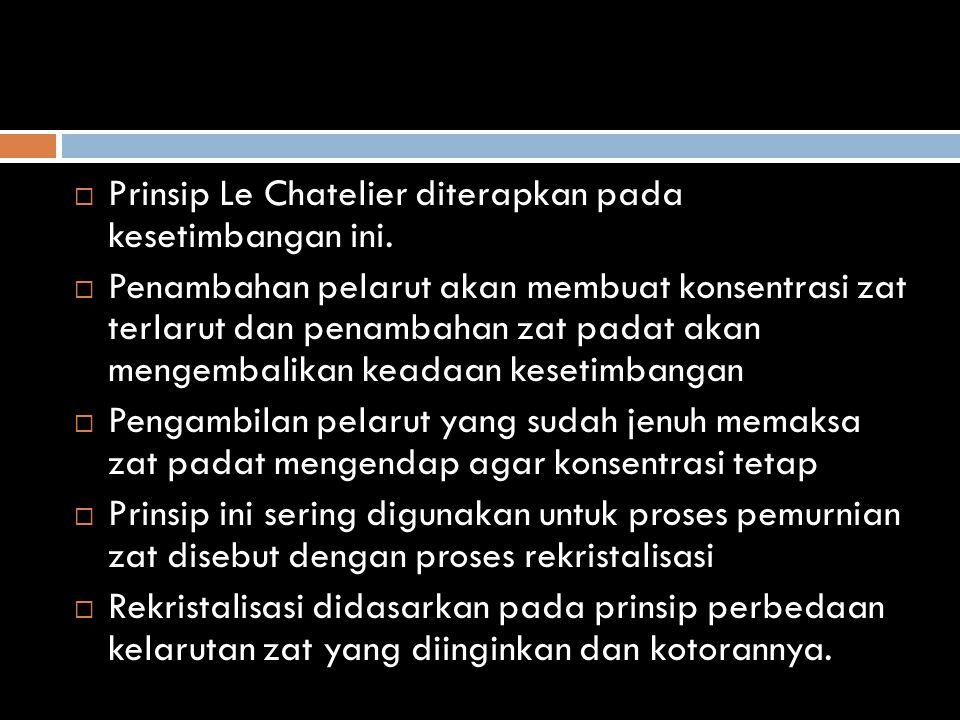 Prinsip Le Chatelier diterapkan pada kesetimbangan ini.