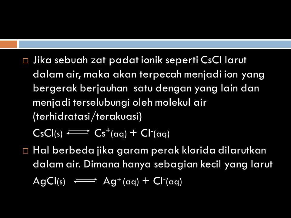 Jika sebuah zat padat ionik seperti CsCl larut dalam air, maka akan terpecah menjadi ion yang bergerak berjauhan satu dengan yang lain dan menjadi terselubungi oleh molekul air (terhidratasi/terakuasi)