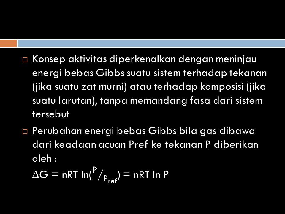Konsep aktivitas diperkenalkan dengan meninjau energi bebas Gibbs suatu sistem terhadap tekanan (jika suatu zat murni) atau terhadap komposisi (jika suatu larutan), tanpa memandang fasa dari sistem tersebut