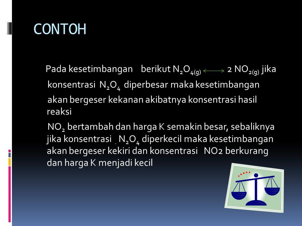 CONTOH Pada kesetimbangan berikut N2O4(g) 2 NO2(g) jika