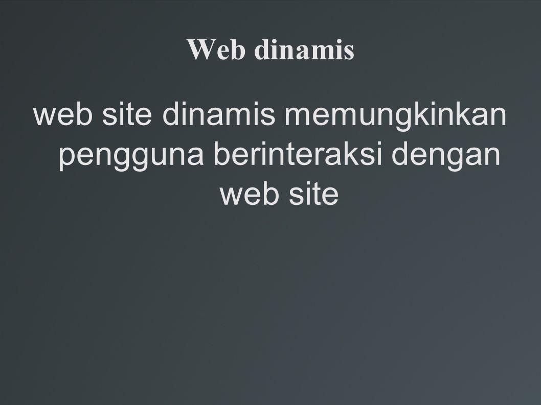 web site dinamis memungkinkan pengguna berinteraksi dengan web site