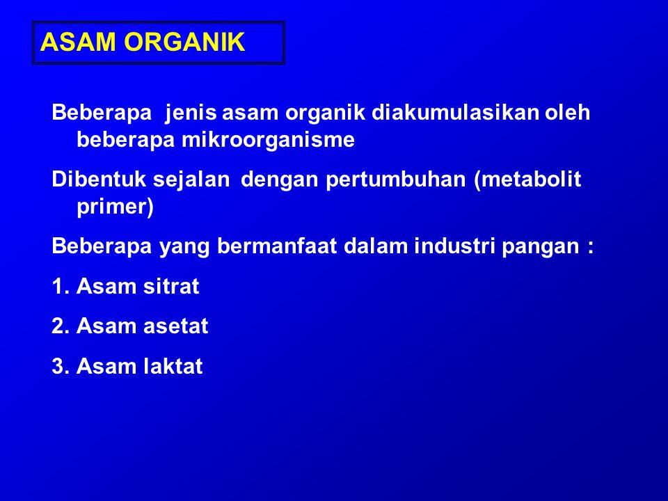 ASAM ORGANIK Beberapa jenis asam organik diakumulasikan oleh beberapa mikroorganisme. Dibentuk sejalan dengan pertumbuhan (metabolit primer)