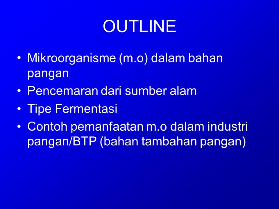 OUTLINE Mikroorganisme (m.o) dalam bahan pangan