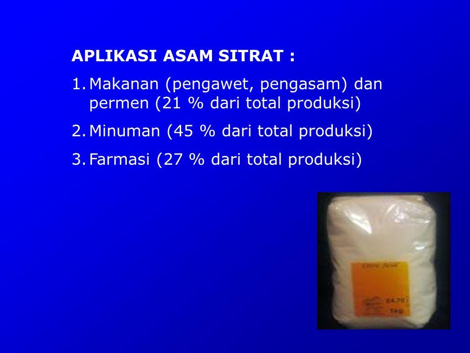 APLIKASI ASAM SITRAT : Makanan (pengawet, pengasam) dan permen (21 % dari total produksi) Minuman (45 % dari total produksi)