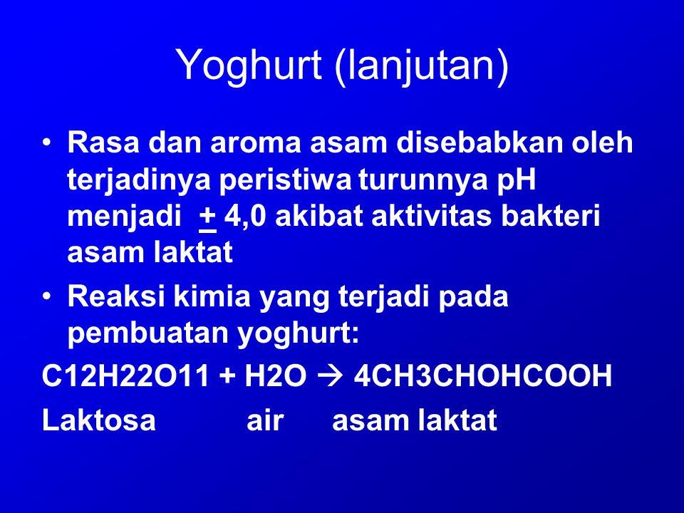 Yoghurt (lanjutan) Rasa dan aroma asam disebabkan oleh terjadinya peristiwa turunnya pH menjadi + 4,0 akibat aktivitas bakteri asam laktat.