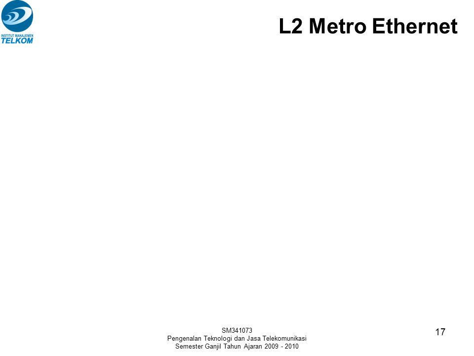 L2 Metro Ethernet SM341073. Pengenalan Teknologi dan Jasa Telekomunikasi.