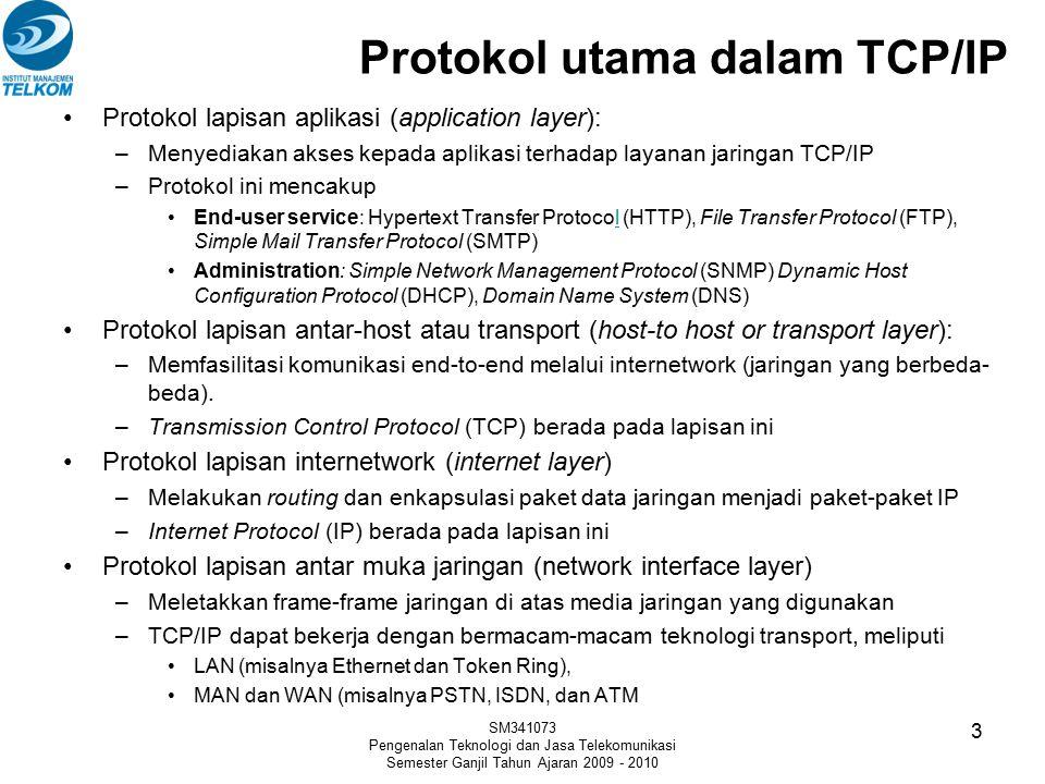Protokol utama dalam TCP/IP