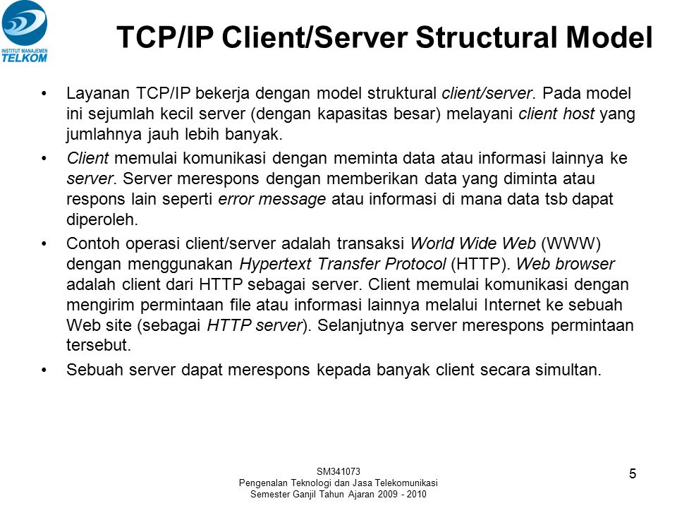 TCP/IP Client/Server Structural Model