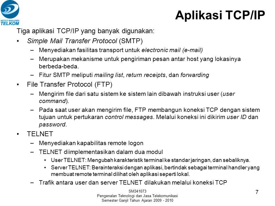 Aplikasi TCP/IP Tiga aplikasi TCP/IP yang banyak digunakan: