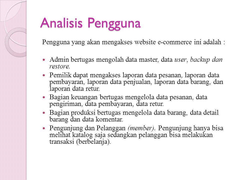 Analisis Pengguna Pengguna yang akan mengakses website e-commerce ini adalah : Admin bertugas mengolah data master, data user, backup dan restore.