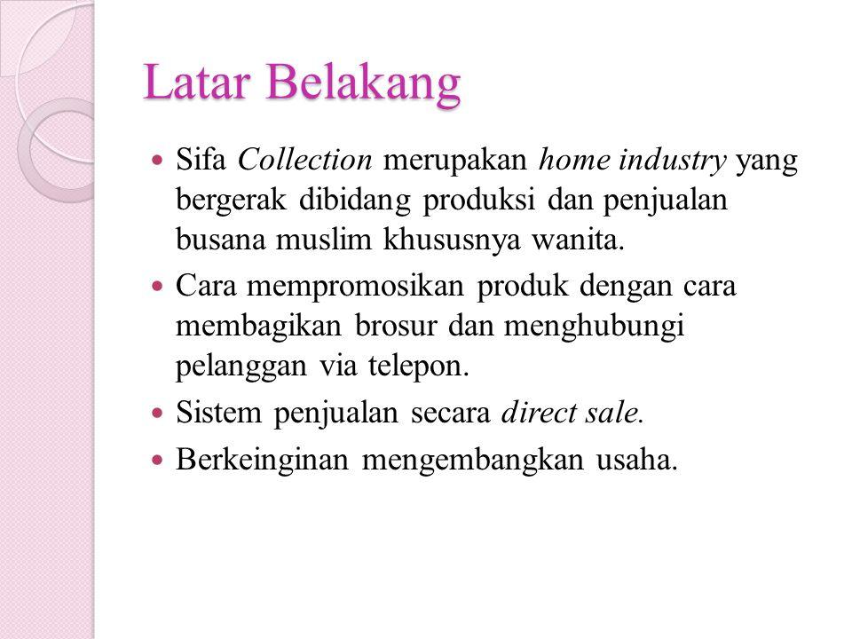 Latar Belakang Sifa Collection merupakan home industry yang bergerak dibidang produksi dan penjualan busana muslim khususnya wanita.