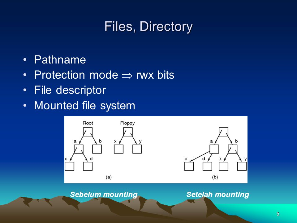 Files, Directory Pathname Protection mode  rwx bits File descriptor