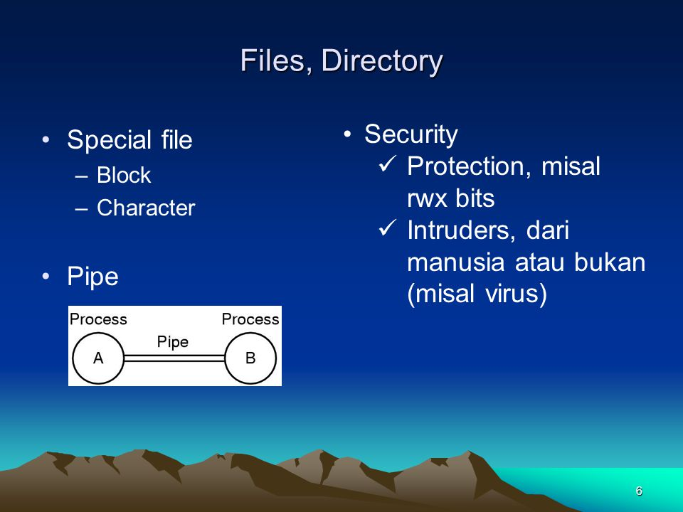 Files, Directory Security Special file Protection, misal rwx bits