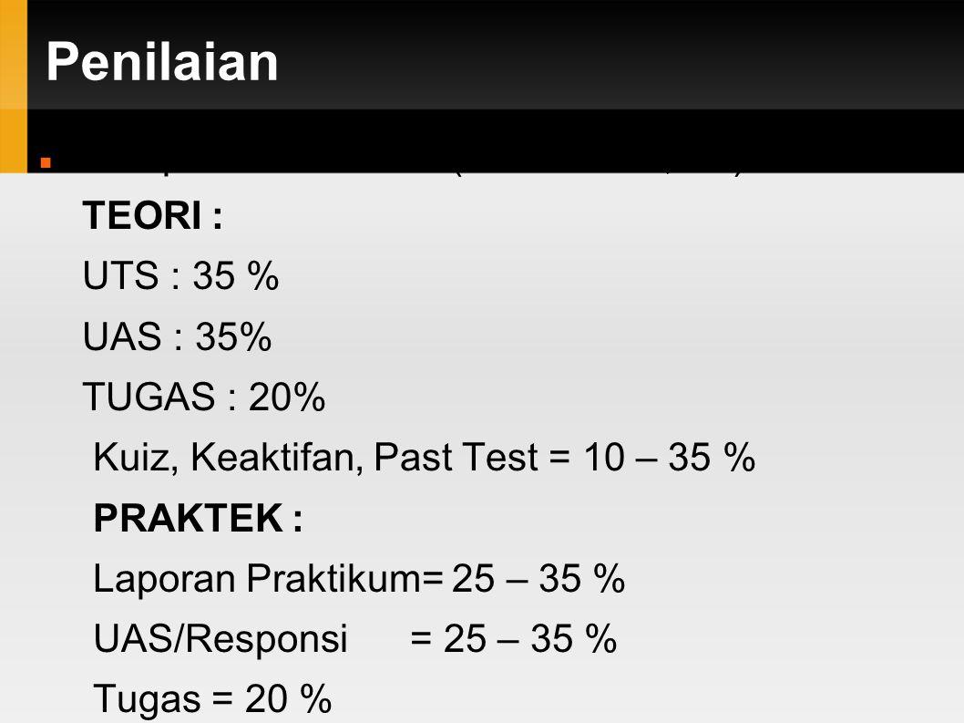 Penilaian Komponen Penilaian (4 SKS = 2T, 2P) TEORI : UTS : 35 %