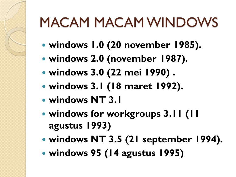 MACAM MACAM WINDOWS windows 1.0 (20 november 1985).