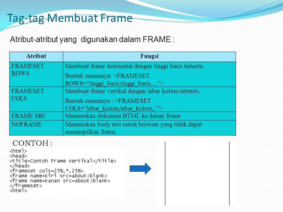 Tag-tag Membuat Frame Atribut-atribut yang digunakan dalam FRAME :