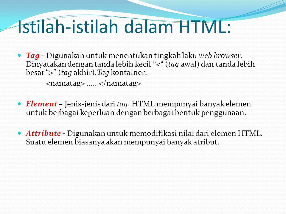 Istilah-istilah dalam HTML: