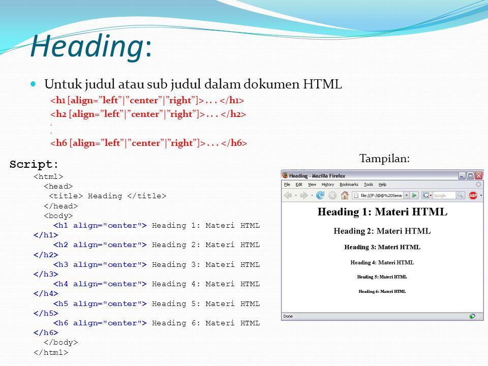 Heading: Untuk judul atau sub judul dalam dokumen HTML Script: