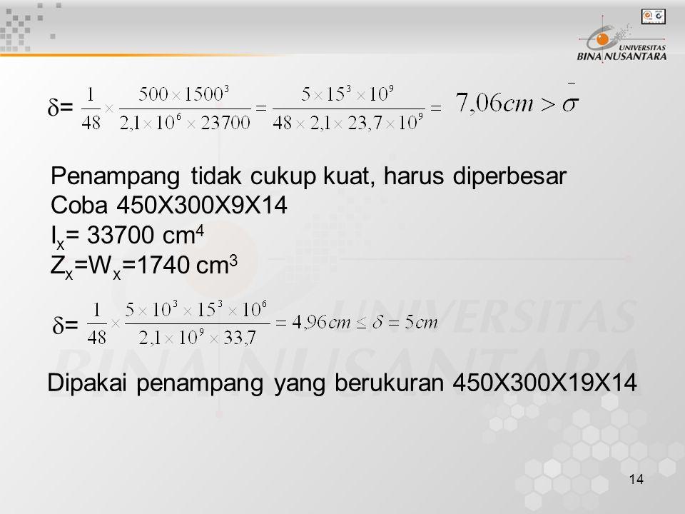 = Penampang tidak cukup kuat, harus diperbesar. Coba 450X300X9X14. Ix= 33700 cm4. Zx=Wx=1740 cm3.