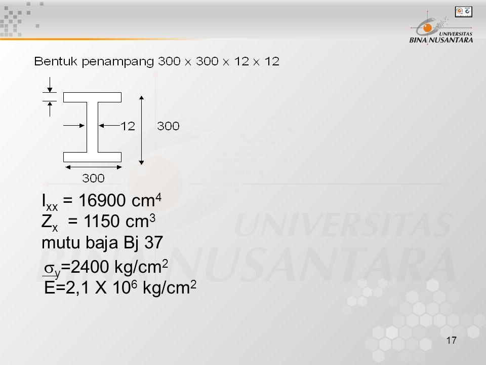 Ixx = 16900 cm4 Zx = 1150 cm3 mutu baja Bj 37 y=2400 kg/cm2 E=2,1 X 106 kg/cm2