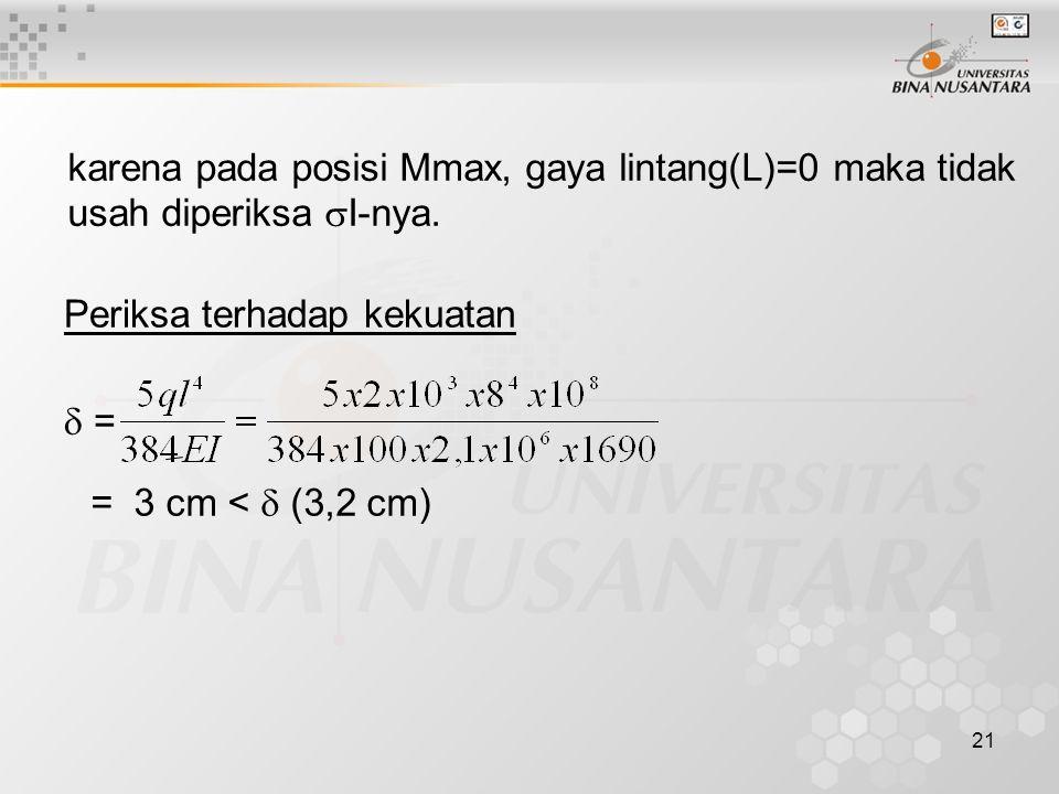 karena pada posisi Mmax, gaya lintang(L)=0 maka tidak usah diperiksa I-nya.