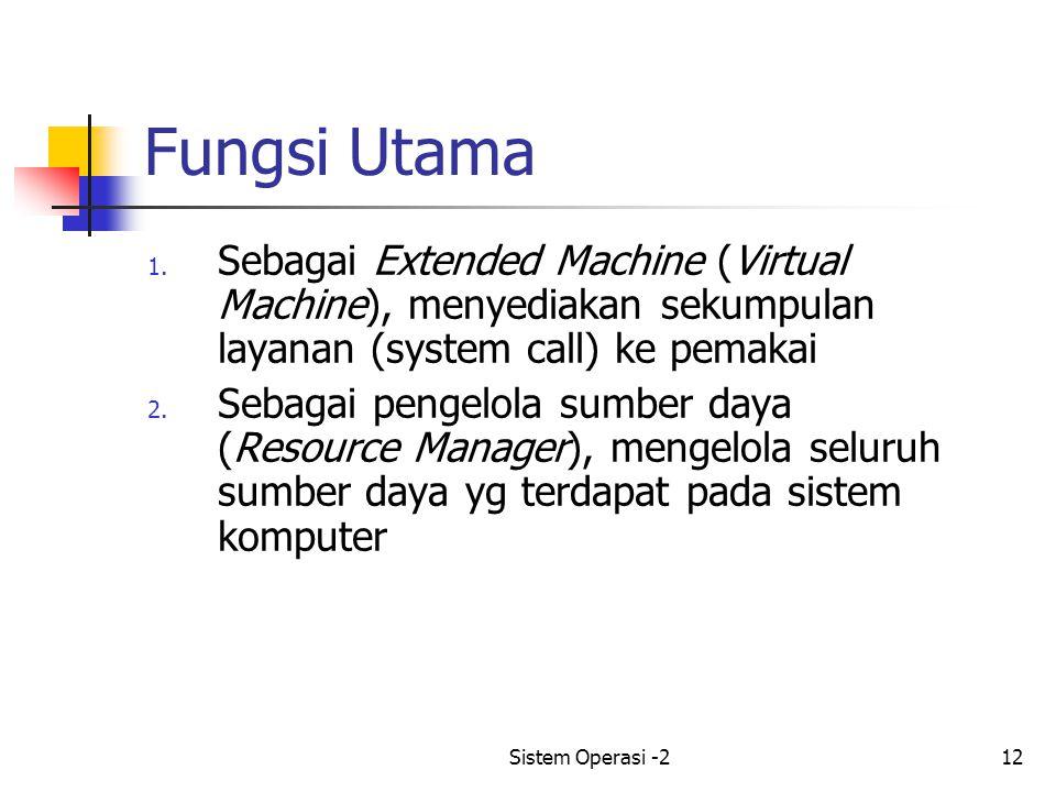 Fungsi Utama Sebagai Extended Machine (Virtual Machine), menyediakan sekumpulan layanan (system call) ke pemakai.