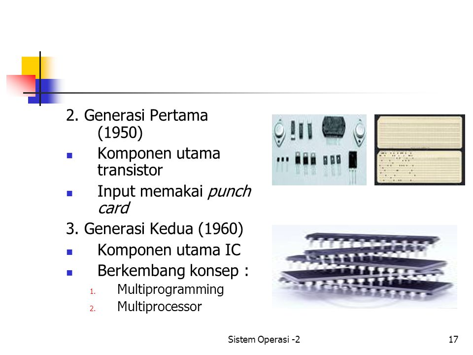 Komponen utama transistor Input memakai punch card