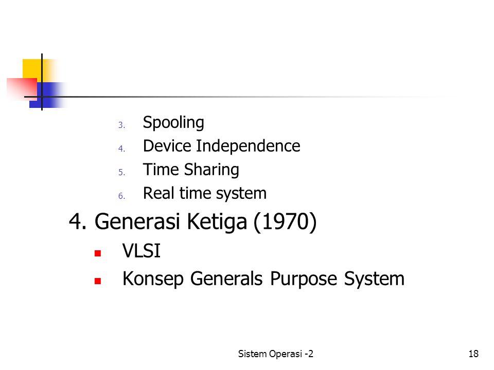 4. Generasi Ketiga (1970) VLSI Konsep Generals Purpose System Spooling
