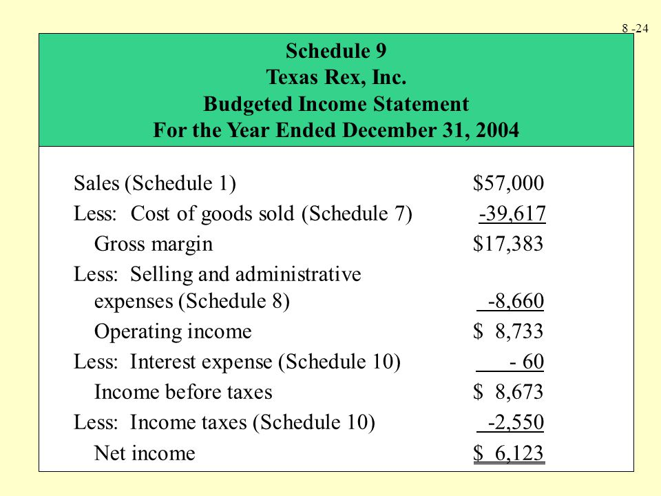 Budgeted Income Statement For the Year Ended December 31, 2004