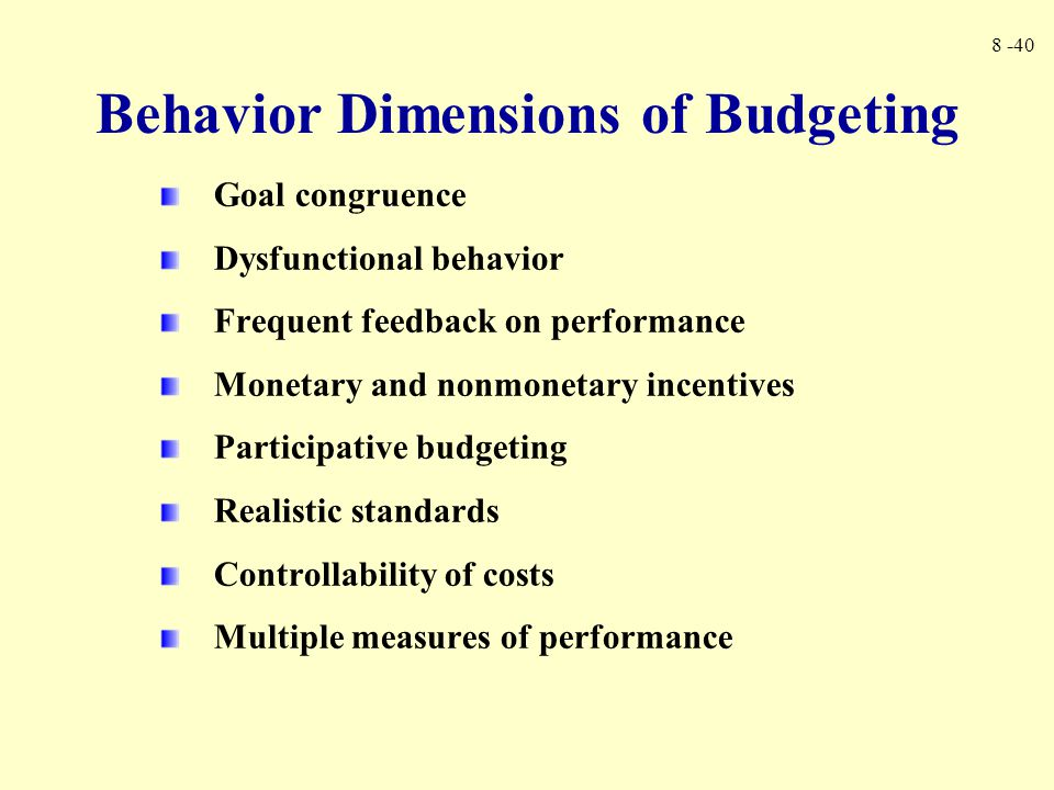 Behavior Dimensions of Budgeting