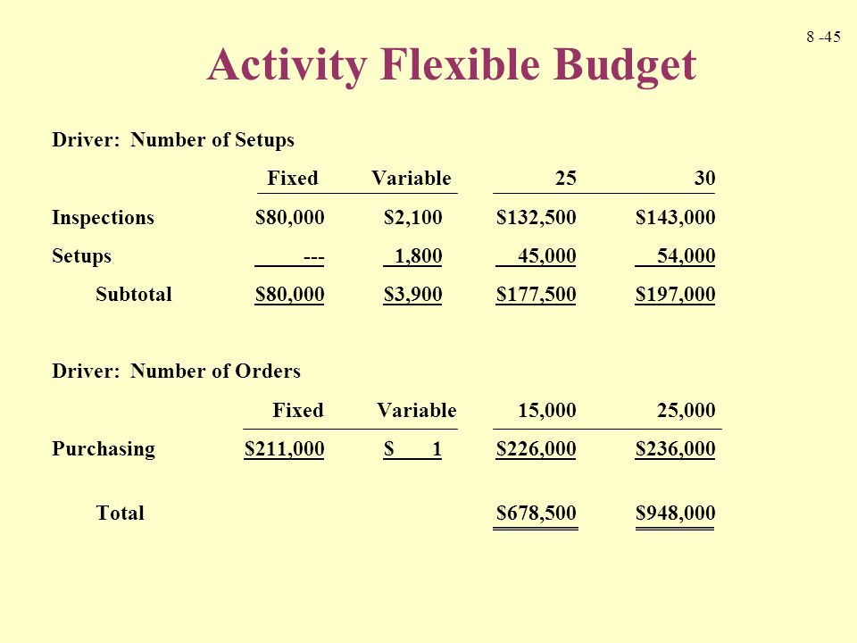 Activity Flexible Budget