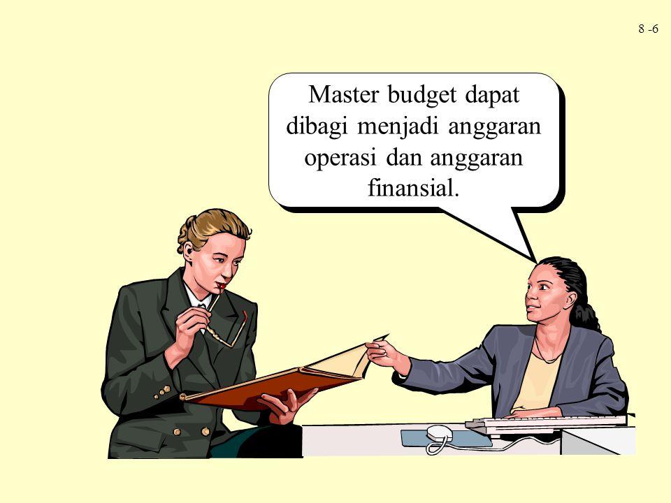 Master budget dapat dibagi menjadi anggaran operasi dan anggaran finansial.