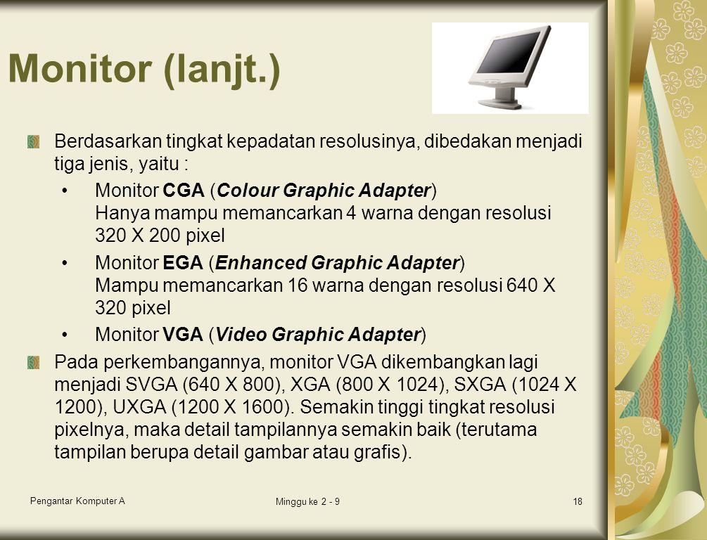 Monitor (lanjt.) Berdasarkan tingkat kepadatan resolusinya, dibedakan menjadi tiga jenis, yaitu :